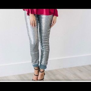 New Rosette Leggings Silver Sequin Pants Sz. L